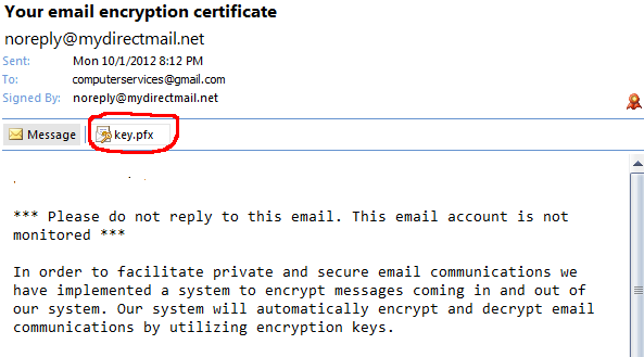 How to send/receive encrypted email from Microsoft Outlook